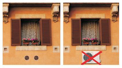 Installazione di condizionatori d'aria in edifici situati nel centro storico. Alcune soluzioni.